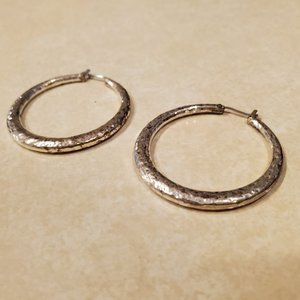 Claire's Large Faux Silver Hammered Hoop Earrings